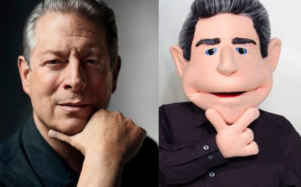 Al Gore photo and puppet